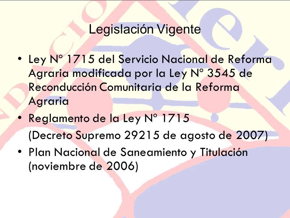 Legislación Vigente Ley Nº 1715 del Servicio Nacional de Reforma Agraria modificada por la Ley Nº 3545 de Reconducción Comunitaria de la Reforma Agrar