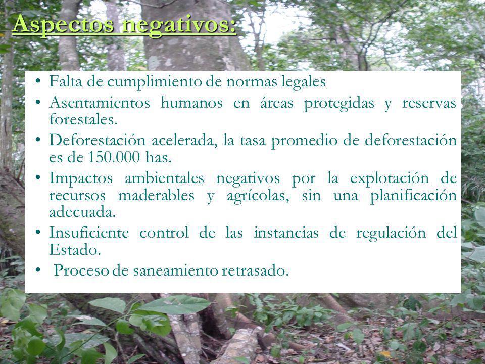 Aspectos negativos: Falta de cumplimiento de normas legales Asentamientos humanos en áreas protegidas y reservas forestales. Deforestación acelerada,