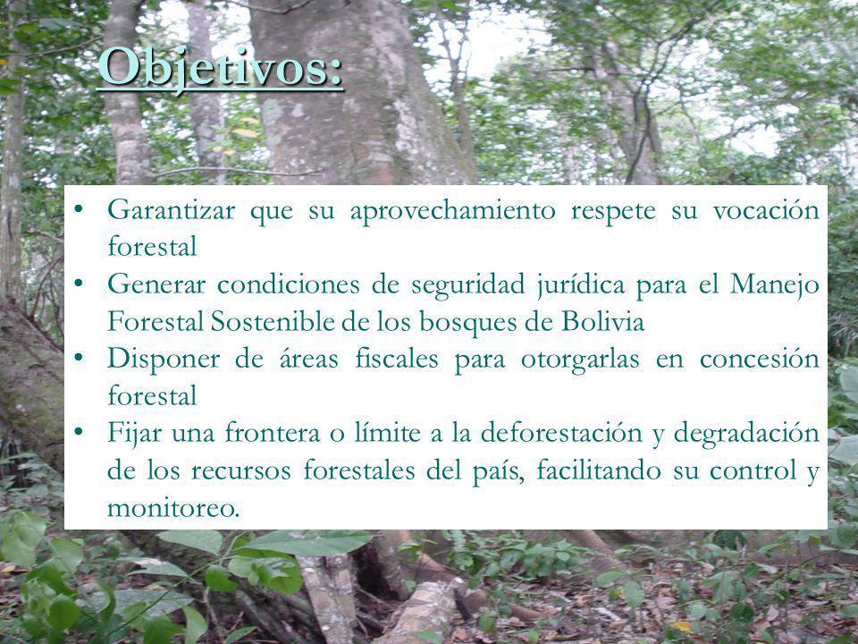 Garantizar que su aprovechamiento respete su vocación forestal Generar condiciones de seguridad jurídica para el Manejo Forestal Sostenible de los bos