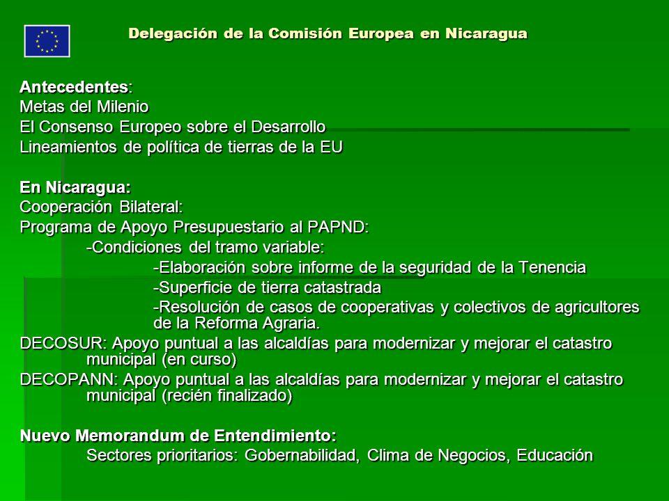 Delegación de la Comisión Europea en Nicaragua Antecedentes: Metas del Milenio El Consenso Europeo sobre el Desarrollo Lineamientos de política de tie