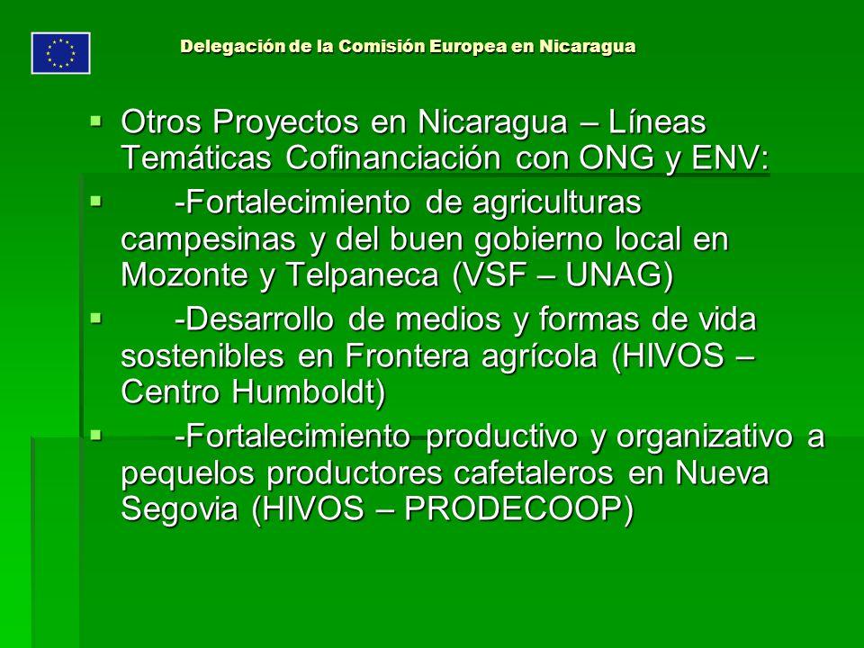 Delegación de la Comisión Europea en Nicaragua Otros Proyectos en Nicaragua – Líneas Temáticas Cofinanciación con ONG y ENV: Otros Proyectos en Nicaragua – Líneas Temáticas Cofinanciación con ONG y ENV: -Fortalecimiento de agriculturas campesinas y del buen gobierno local en Mozonte y Telpaneca (VSF – UNAG) -Fortalecimiento de agriculturas campesinas y del buen gobierno local en Mozonte y Telpaneca (VSF – UNAG) -Desarrollo de medios y formas de vida sostenibles en Frontera agrícola (HIVOS – Centro Humboldt) -Desarrollo de medios y formas de vida sostenibles en Frontera agrícola (HIVOS – Centro Humboldt) -Fortalecimiento productivo y organizativo a pequelos productores cafetaleros en Nueva Segovia (HIVOS – PRODECOOP) -Fortalecimiento productivo y organizativo a pequelos productores cafetaleros en Nueva Segovia (HIVOS – PRODECOOP)