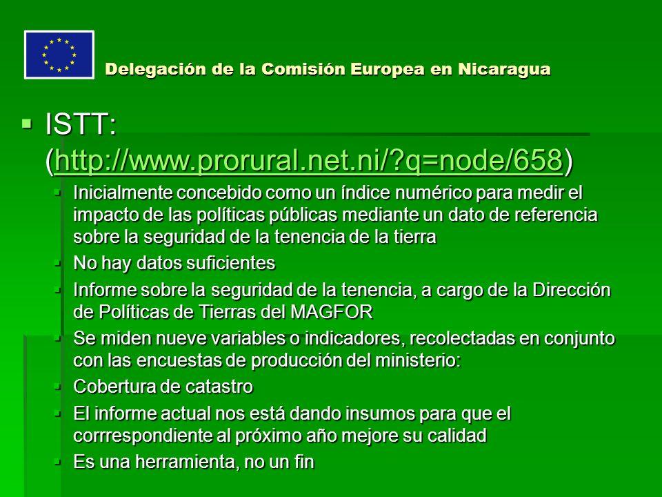 ISTT: (http://www.prorural.net.ni/ q=node/658) ISTT: (http://www.prorural.net.ni/ q=node/658)http://www.prorural.net.ni/ q=node/658 Inicialmente concebido como un índice numérico para medir el impacto de las políticas públicas mediante un dato de referencia sobre la seguridad de la tenencia de la tierra Inicialmente concebido como un índice numérico para medir el impacto de las políticas públicas mediante un dato de referencia sobre la seguridad de la tenencia de la tierra No hay datos suficientes No hay datos suficientes Informe sobre la seguridad de la tenencia, a cargo de la Dirección de Políticas de Tierras del MAGFOR Informe sobre la seguridad de la tenencia, a cargo de la Dirección de Políticas de Tierras del MAGFOR Se miden nueve variables o indicadores, recolectadas en conjunto con las encuestas de producción del ministerio: Se miden nueve variables o indicadores, recolectadas en conjunto con las encuestas de producción del ministerio: Cobertura de catastro Cobertura de catastro El informe actual nos está dando insumos para que el corrrespondiente al próximo año mejore su calidad El informe actual nos está dando insumos para que el corrrespondiente al próximo año mejore su calidad Es una herramienta, no un fin Es una herramienta, no un fin