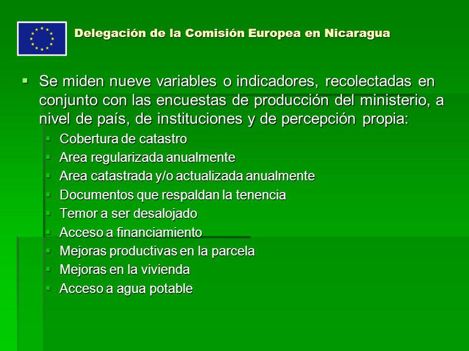Delegación de la Comisión Europea en Nicaragua Se miden nueve variables o indicadores, recolectadas en conjunto con las encuestas de producción del ministerio, a nivel de país, de instituciones y de percepción propia: Se miden nueve variables o indicadores, recolectadas en conjunto con las encuestas de producción del ministerio, a nivel de país, de instituciones y de percepción propia: Cobertura de catastro Cobertura de catastro Area regularizada anualmente Area regularizada anualmente Area catastrada y/o actualizada anualmente Area catastrada y/o actualizada anualmente Documentos que respaldan la tenencia Documentos que respaldan la tenencia Temor a ser desalojado Temor a ser desalojado Acceso a financiamiento Acceso a financiamiento Mejoras productivas en la parcela Mejoras productivas en la parcela Mejoras en la vivienda Mejoras en la vivienda Acceso a agua potable Acceso a agua potable