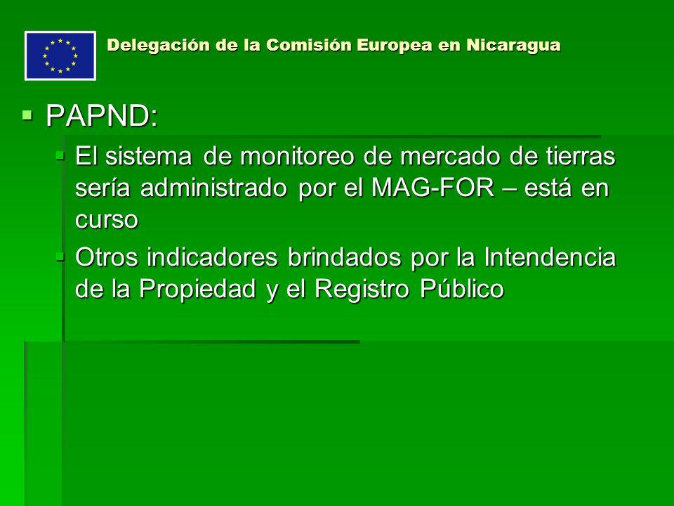 Delegación de la Comisión Europea en Nicaragua PAPND: PAPND: El sistema de monitoreo de mercado de tierras sería administrado por el MAG-FOR – está en