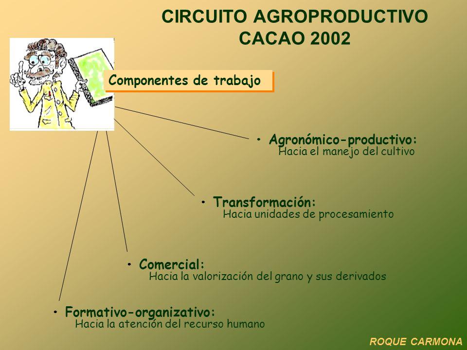 Componentes de trabajo Formativo-organizativo: Hacia la atención del recurso humano Comercial: Hacia la valorización del grano y sus derivados Transfo