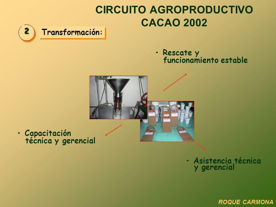 Transformación: 2 Rescate y funcionamiento estable Asistencia técnica y gerencial Capacitación técnica y gerencial CIRCUITO AGROPRODUCTIVO CACAO 2002