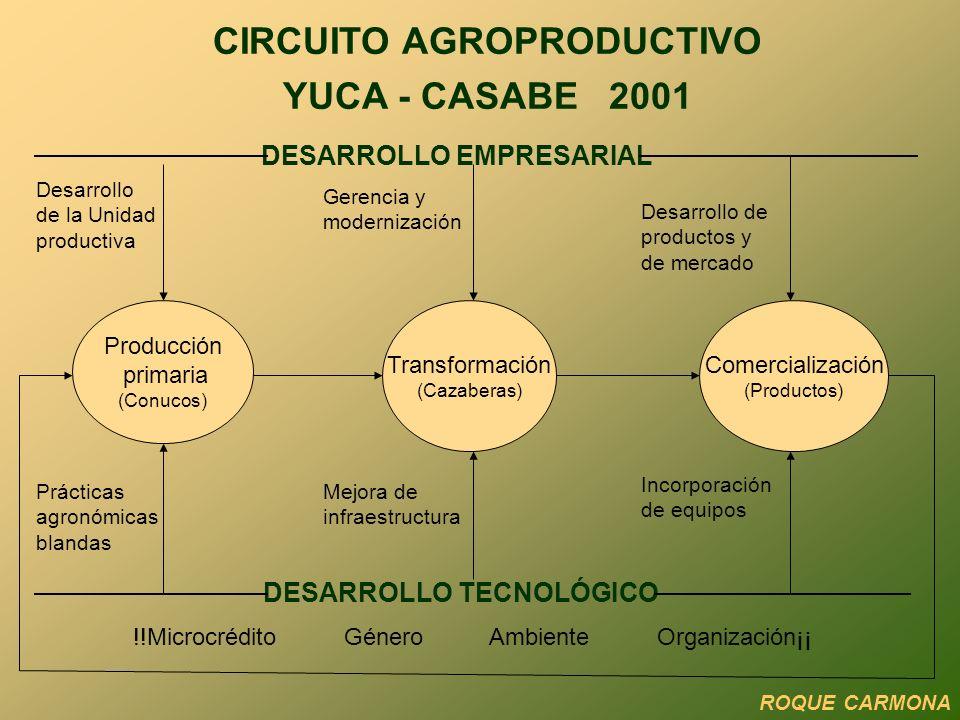 CIRCUITO AGROPRODUCTIVO YUCA - CASABE 2001 DESARROLLO EMPRESARIAL Producción primaria (Conucos) Transformación (Cazaberas) Comercialización (Productos) DESARROLLO TECNOLÓGICO Prácticas agronómicas blandas Mejora de infraestructura Incorporación de equipos Desarrollo de la Unidad productiva Gerencia y modernización Desarrollo de productos y de mercado !!Microcrédito Género Ambiente Organización¡¡ ROQUE CARMONA