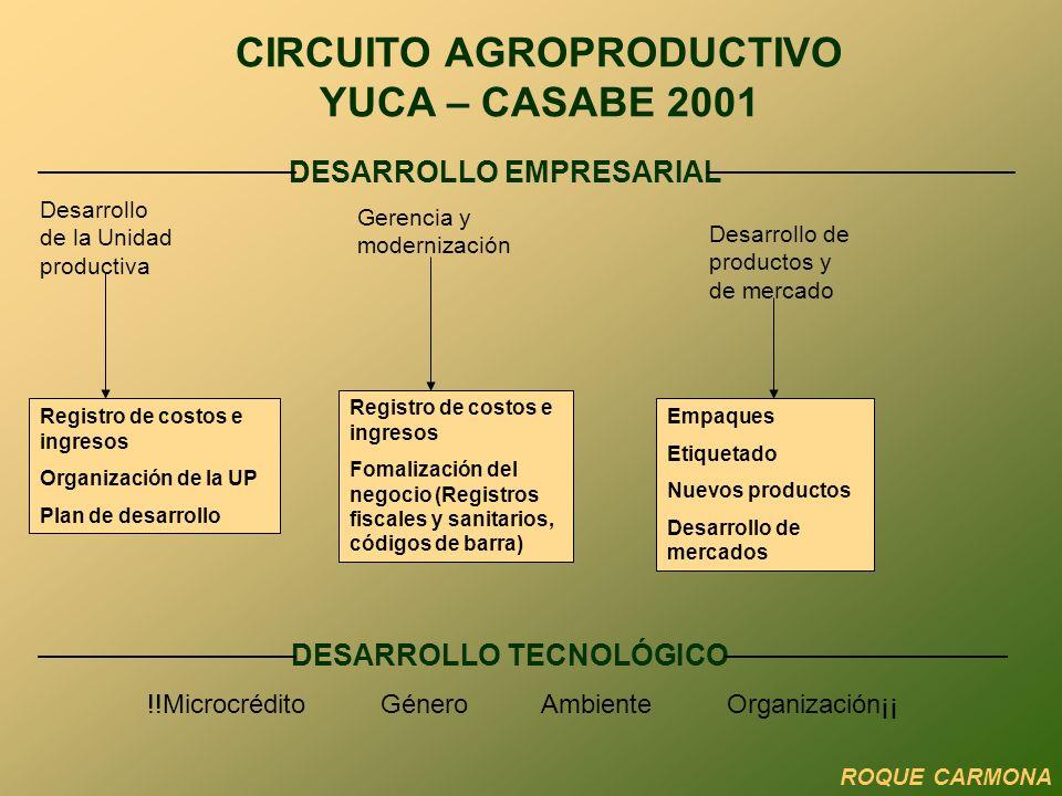 Comercial 3 Valorización del cacao en grano y derivados Exploración de nuevos mercados Difusión y promoción CIRCUITO AGROPRODUCTIVO CACAO 2002 ROQUE CARMONA