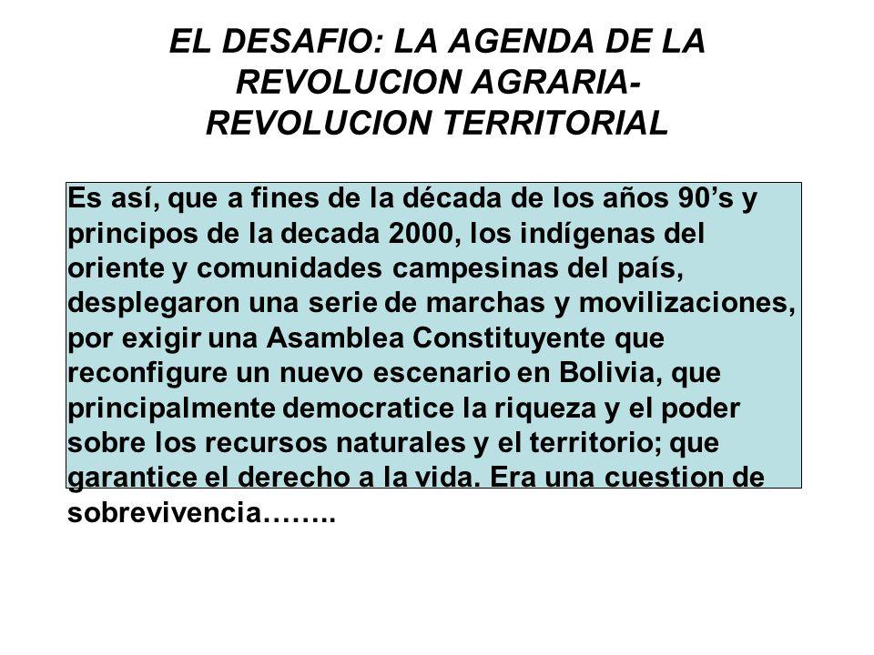 EL DESAFIO: LA AGENDA DE LA REVOLUCION AGRARIA- REVOLUCION TERRITORIAL Es así, que a fines de la década de los años 90s y principos de la decada 2000,
