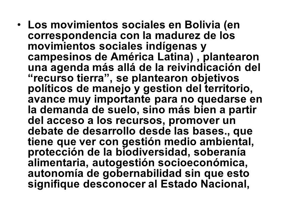 Los movimientos sociales en Bolivia (en correspondencia con la madurez de los movimientos sociales indígenas y campesinos de América Latina), plantear