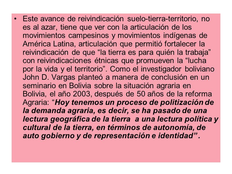 Este avance de reivindicación suelo-tierra-territorio, no es al azar, tiene que ver con la articulación de los movimientos campesinos y movimientos in