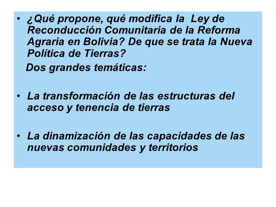 ¿Qué propone, qué modifica la Ley de Reconducción Comunitaria de la Reforma Agraria en Bolivia? De que se trata la Nueva Política de Tierras? Dos gran