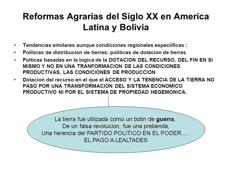 Reformas Agrarias del Siglo XX en America Latina y Bolivia Tendencias similares aunque condiciones regionales especiificas : Politicas de distribucion