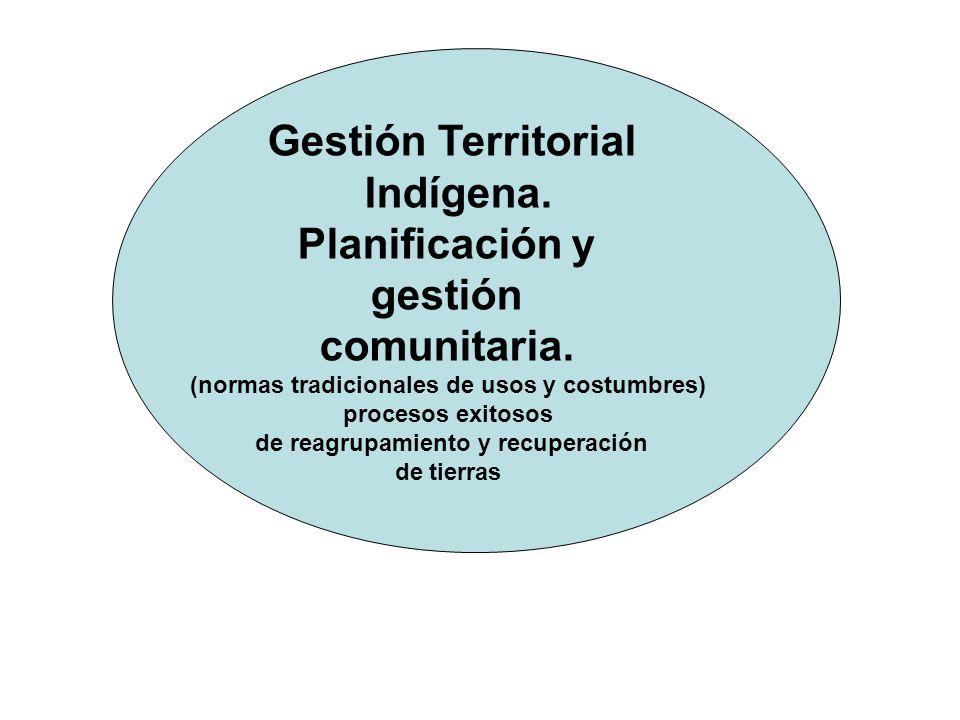 Gestión Territorial Indígena. Planificación y gestión comunitaria. (normas tradicionales de usos y costumbres) procesos exitosos de reagrupamiento y r