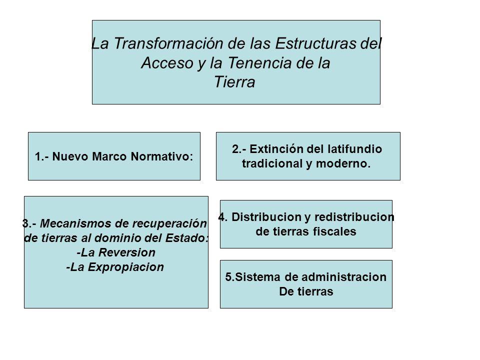 La Transformación de las Estructuras del Acceso y la Tenencia de la Tierra 1.- Nuevo Marco Normativo: 2.- Extinción del latifundio tradicional y moder