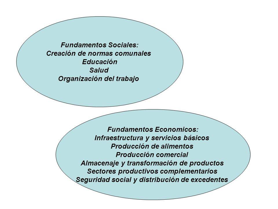 Fundamentos Sociales: Creación de normas comunales Educación Salud Organización del trabajo Fundamentos Economicos: Infraestructura y servicios básico