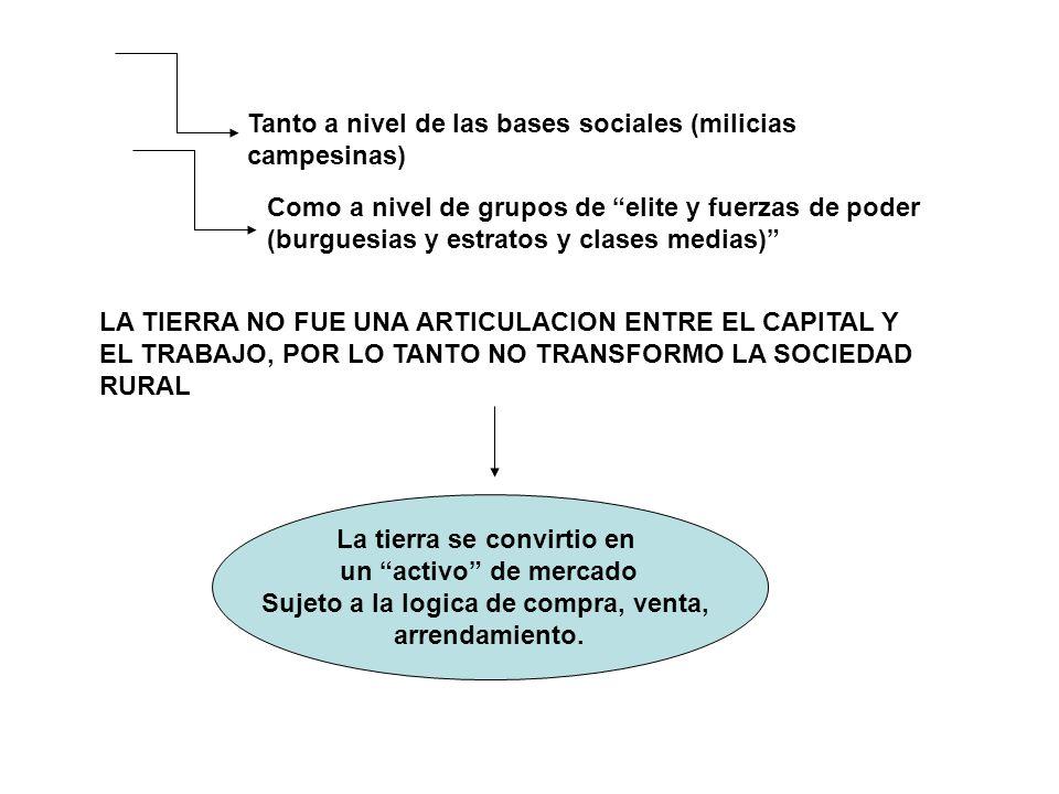 Tanto a nivel de las bases sociales (milicias campesinas) Como a nivel de grupos de elite y fuerzas de poder (burguesias y estratos y clases medias) L