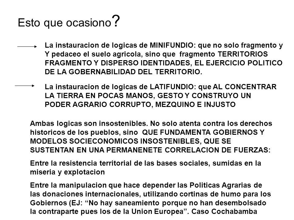 Como conclusion del prologo: America Latina, Bolivia, tiene ante si un desafio historico: LA ARTICULACION TIERRA-TERRITORIO-PODER- DEMOCRACIA, Articulacion que va a configurar Procesos Constitutivos (no Reformas, no modificaciones de salon ni de escritorio) sino transformaciones estructurales, que ademas devienen de una AGENDA PENDIENTE DE MAS DE 500 Anos: PRIMERA CONQUISTA.