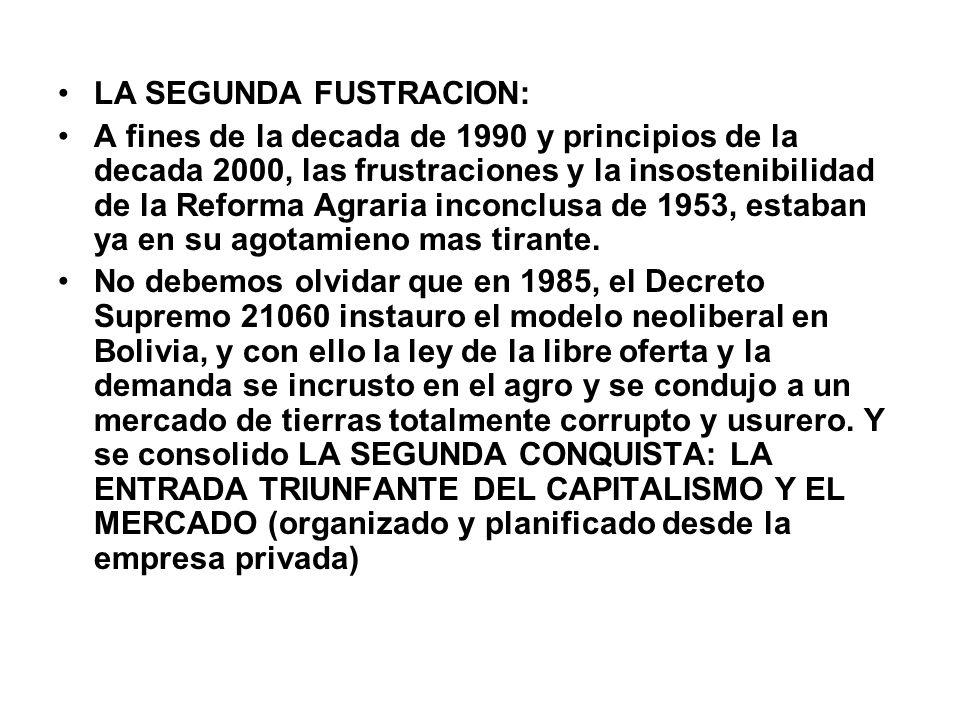 LA SEGUNDA FUSTRACION: A fines de la decada de 1990 y principios de la decada 2000, las frustraciones y la insostenibilidad de la Reforma Agraria inco