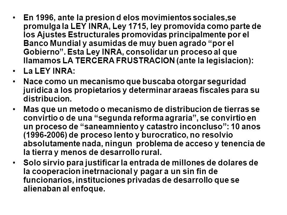 En 1996, ante la presion d elos movimientos sociales,se promulga la LEY INRA, Ley 1715, ley promovida como parte de los Ajustes Estructurales promovid