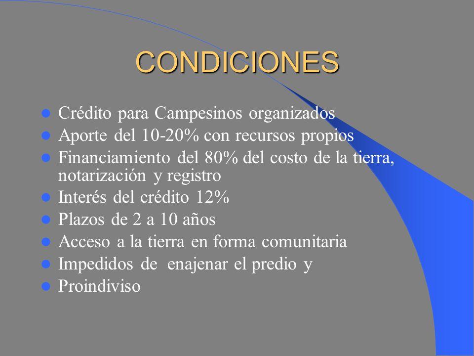 REQUISITOS Y METODOLOGÍA Presentación de la demanda (solicitud) Presentación de documentos Estudio de factibilidad Negociación y acuerdos de participación Firma de un Convenio Concesión del crédito Notarización y registro del predio