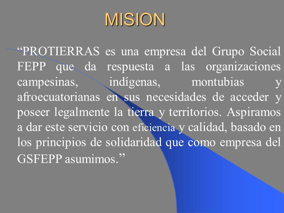 CREACIÓN DE FEPP - PROTIERRAS Luego de la experiencia vivida en los años 1990 - 1995 con el Programa de tierras, el FEPP crea y constituye FEPP - PROTIERRAS en Julio de 1997, como un programa del FEPP especializado en Tierras con criterio de sostenibilidad y autofinanciamiento.