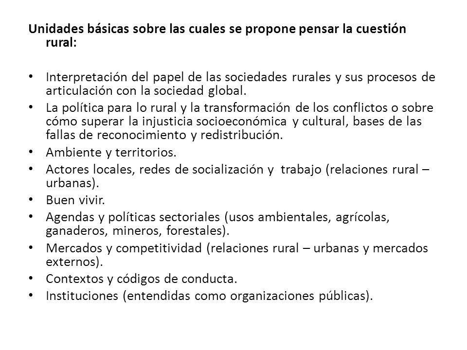 Unidades básicas sobre las cuales se propone pensar la cuestión rural: Interpretación del papel de las sociedades rurales y sus procesos de articulación con la sociedad global.
