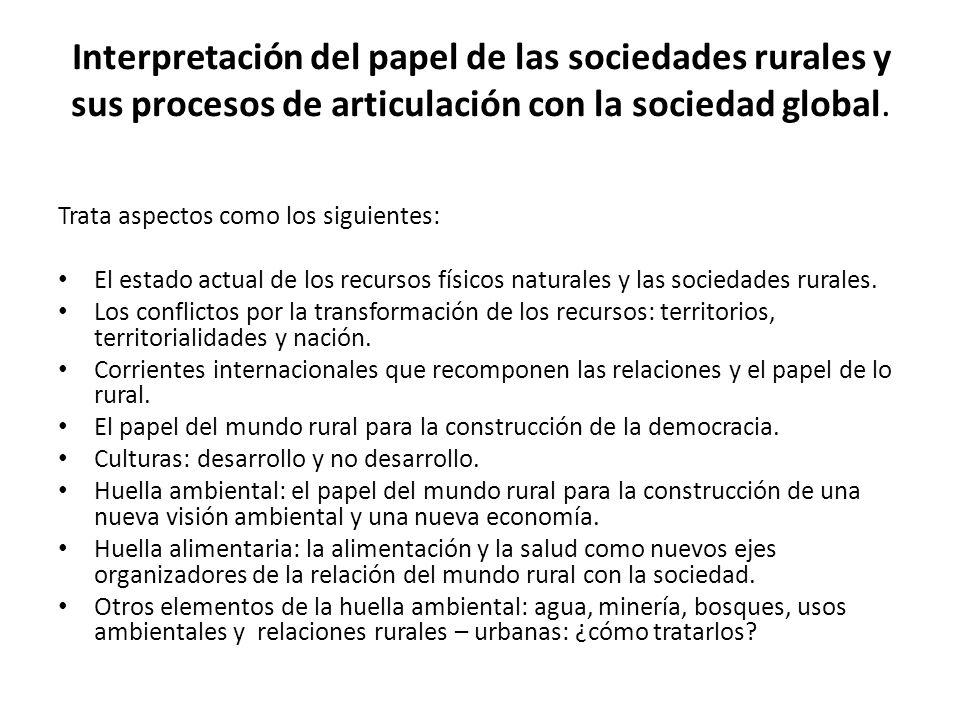 La política para lo rural y la transformación de los conflictos o sobre cómo superar la injusticia socioeconómica y cultural, bases de las fallas de reconocimiento y redistribución.