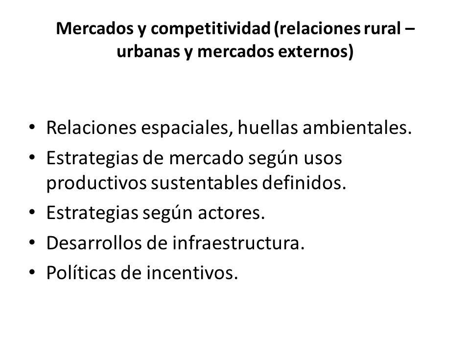 Mercados y competitividad (relaciones rural – urbanas y mercados externos) Relaciones espaciales, huellas ambientales.