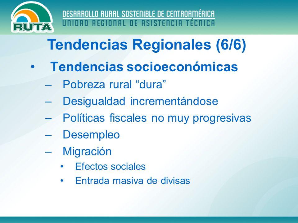 Tendencias socioeconómicas –Pobreza rural dura –Desigualdad incrementándose –Políticas fiscales no muy progresivas –Desempleo –Migración Efectos socia