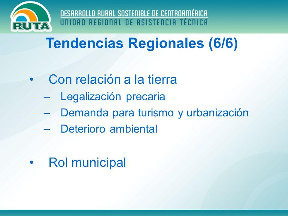 Con relación a la tierra –Legalización precaria –Demanda para turismo y urbanización –Deterioro ambiental Rol municipal Tendencias Regionales (6/6)