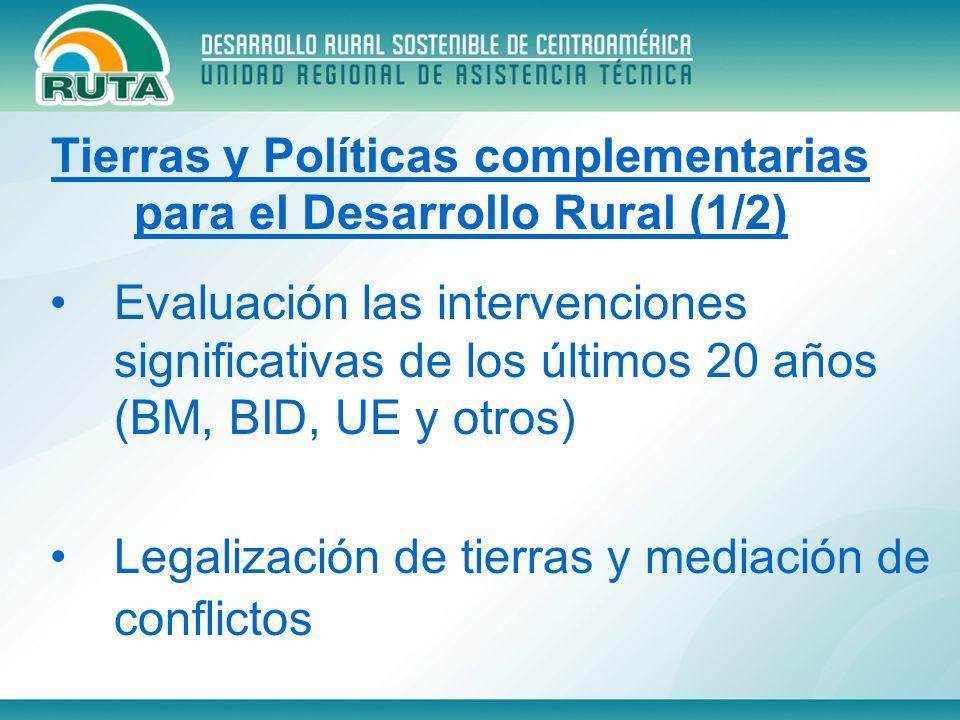 Evaluación las intervenciones significativas de los últimos 20 años (BM, BID, UE y otros) Legalización de tierras y mediación de conflictos Tierras y