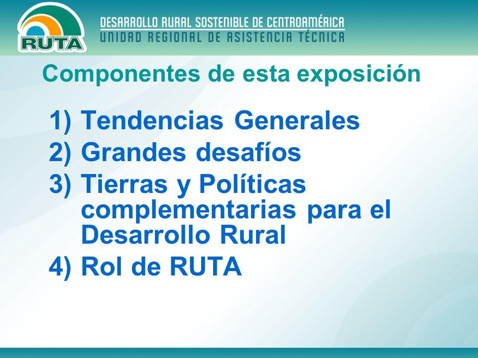 1)Tendencias Generales 2)Grandes desafíos 3)Tierras y Políticas complementarias para el Desarrollo Rural 4)Rol de RUTA Componentes de esta exposición
