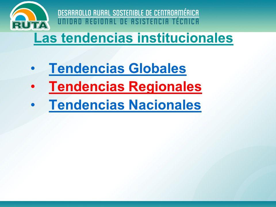 Tendencias Globales Tendencias Regionales Tendencias Nacionales Las tendencias institucionales