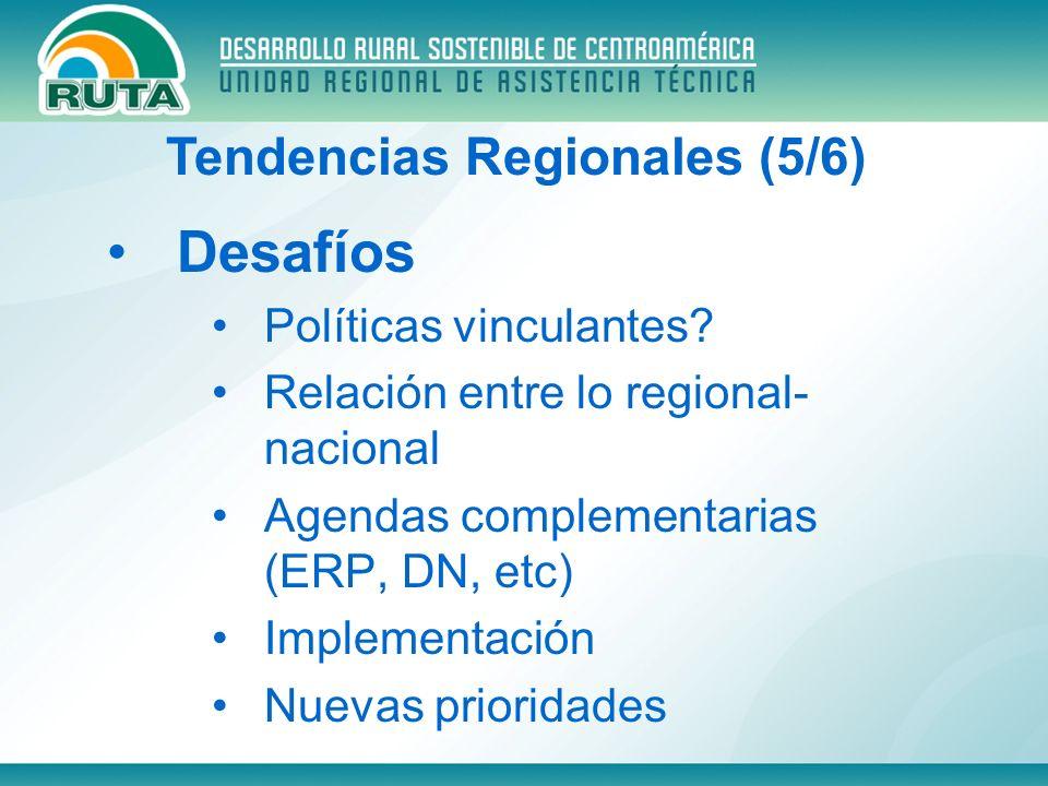 Desafíos Políticas vinculantes? Relación entre lo regional- nacional Agendas complementarias (ERP, DN, etc) Implementación Nuevas prioridades Tendenci
