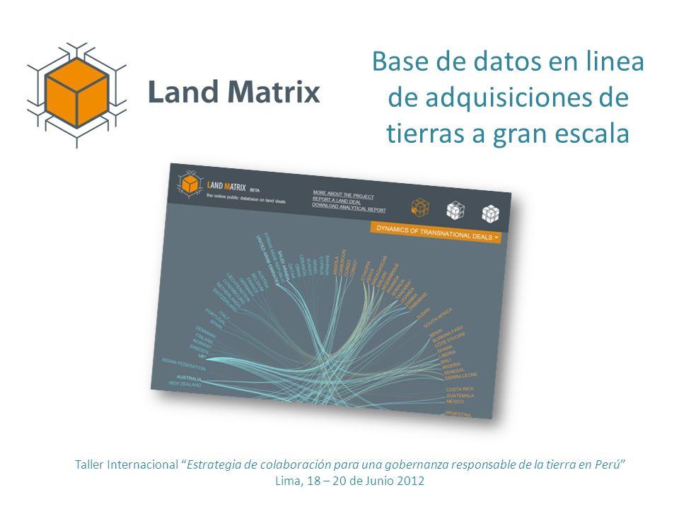 Base de datos en linea de adquisiciones de tierras a gran escala Taller Internacional Estrategia de colaboración para una gobernanza responsable de la