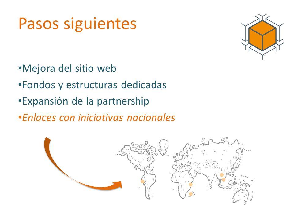 Pasos siguientes Mejora del sitio web Fondos y estructuras dedicadas Expansión de la partnership Enlaces con iniciativas nacionales