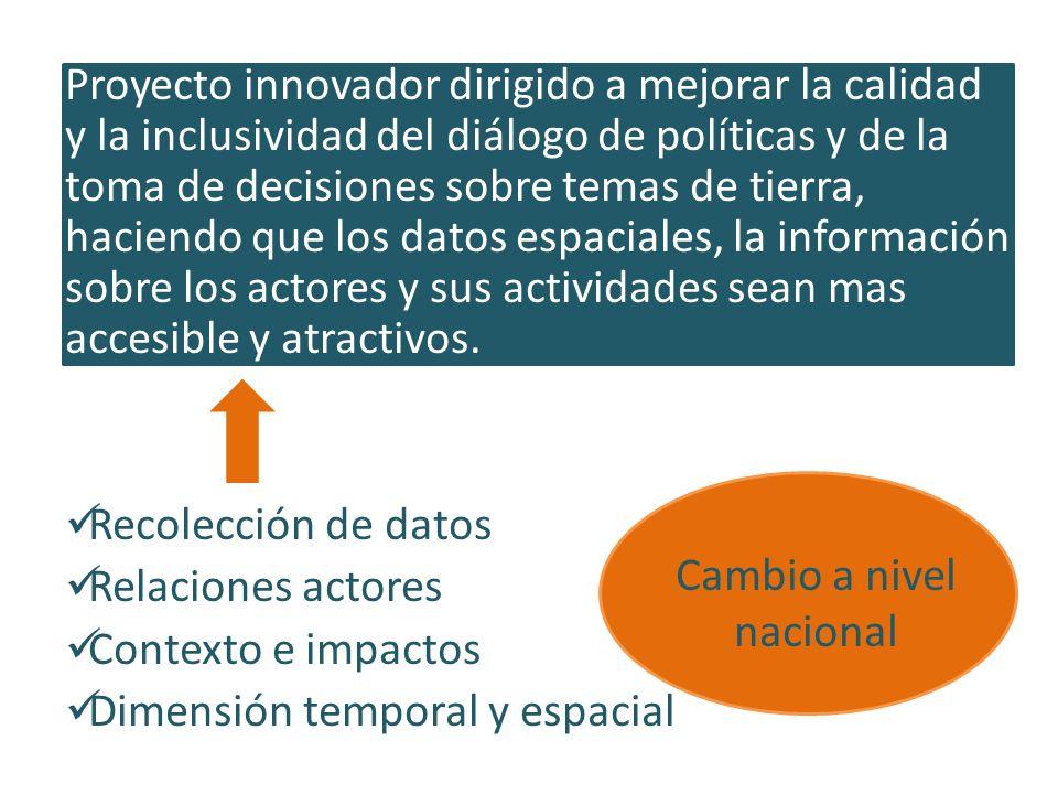 Proyecto innovador dirigido a mejorar la calidad y la inclusividad del diálogo de políticas y de la toma de decisiones sobre temas de tierra, haciendo