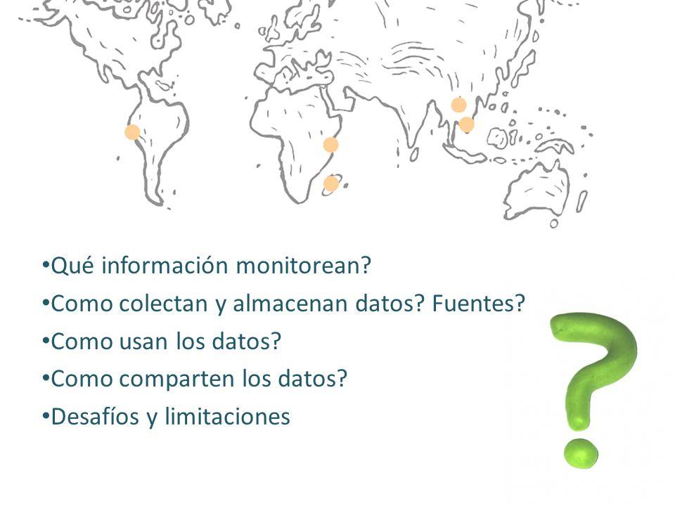 Qué información monitorean? Como colectan y almacenan datos? Fuentes? Como usan los datos? Como comparten los datos? Desafíos y limitaciones