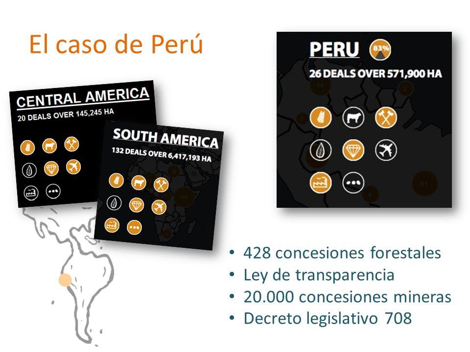 El caso de Perú 428 concesiones forestales Ley de transparencia 20.000 concesiones mineras Decreto legislativo 708