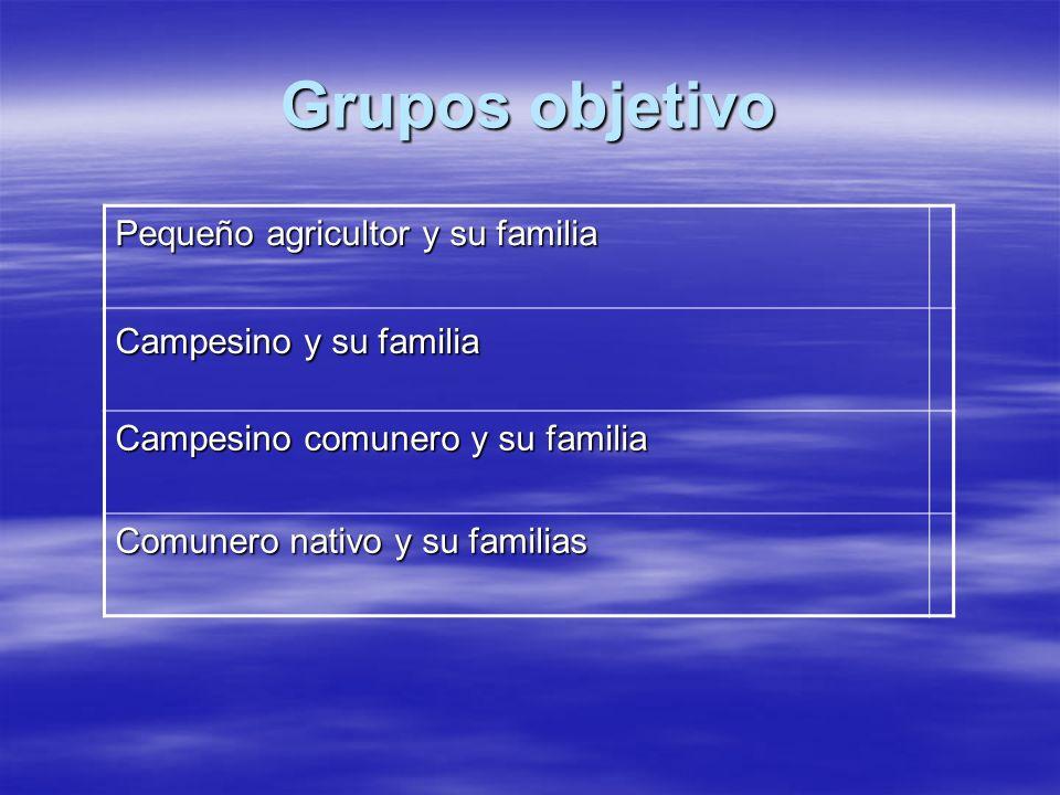 Grupos objetivo Pequeño agricultor y su familia Campesino y su familia Campesino comunero y su familia Comunero nativo y su familias