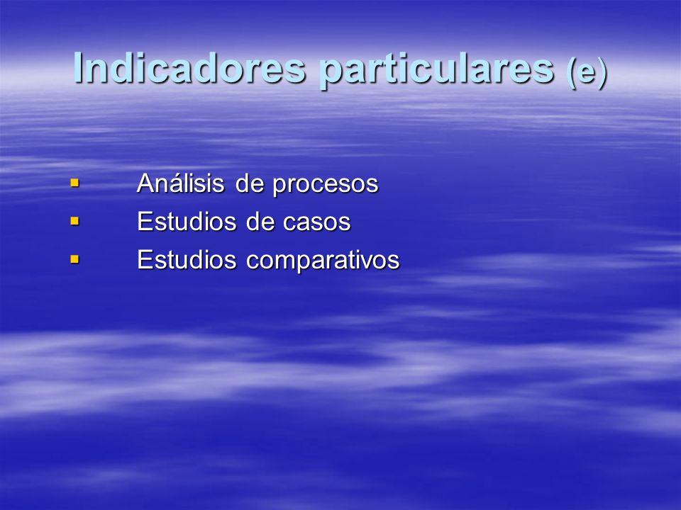 Indicadores particulares (e) Análisis de procesos Análisis de procesos Estudios de casos Estudios de casos Estudios comparativos Estudios comparativos