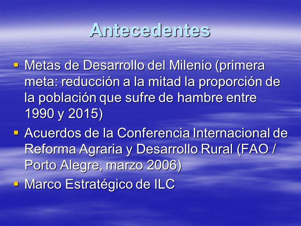 Antecedentes Metas de Desarrollo del Milenio (primera meta: reducción a la mitad la proporción de la población que sufre de hambre entre 1990 y 2015) Metas de Desarrollo del Milenio (primera meta: reducción a la mitad la proporción de la población que sufre de hambre entre 1990 y 2015) Acuerdos de la Conferencia Internacional de Reforma Agraria y Desarrollo Rural (FAO / Porto Alegre, marzo 2006) Acuerdos de la Conferencia Internacional de Reforma Agraria y Desarrollo Rural (FAO / Porto Alegre, marzo 2006) Marco Estratégico de ILC Marco Estratégico de ILC