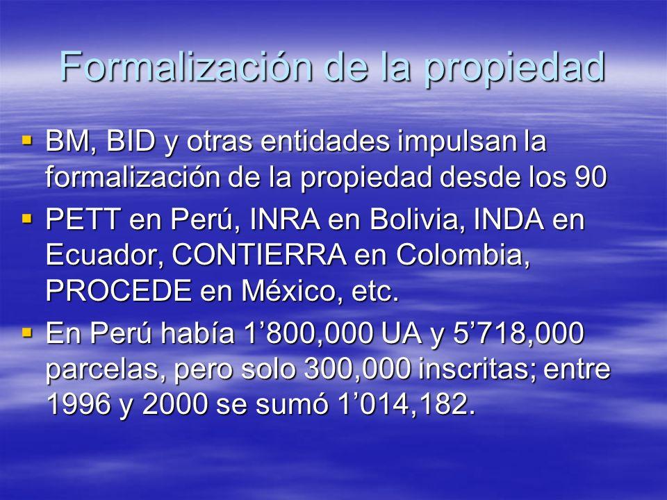 Formalización de la propiedad BM, BID y otras entidades impulsan la formalización de la propiedad desde los 90 BM, BID y otras entidades impulsan la formalización de la propiedad desde los 90 PETT en Perú, INRA en Bolivia, INDA en Ecuador, CONTIERRA en Colombia, PROCEDE en México, etc.
