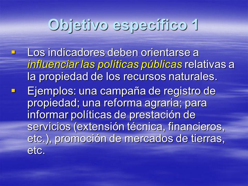 Objetivo específico 1 Los indicadores deben orientarse a influenciar las políticas públicas relativas a la propiedad de los recursos naturales.