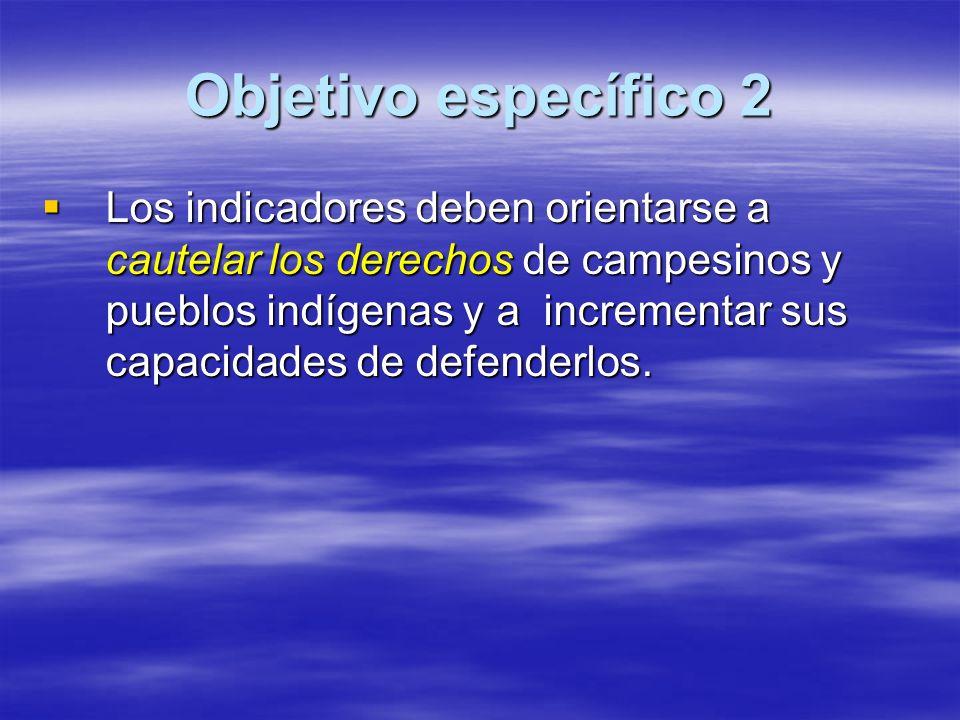 Objetivo específico 2 Los indicadores deben orientarse a cautelar los derechos de campesinos y pueblos indígenas y a incrementar sus capacidades de defenderlos.