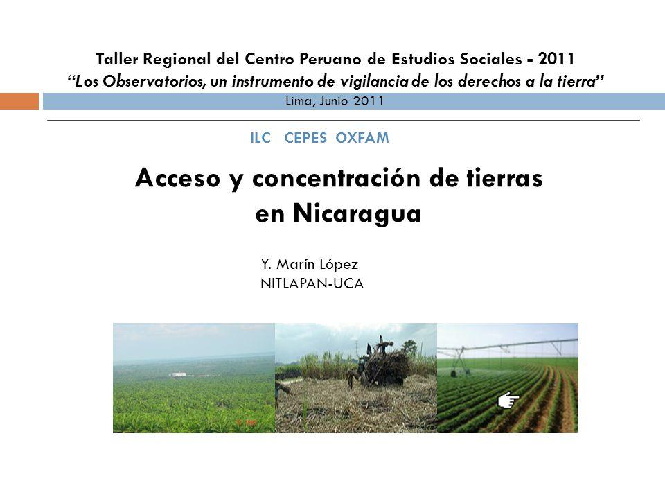 Presentación Contexto económico actual La situación actual de la tenencia de la tierra Evolución de los procesos de concentración de tierras Avances, limitaciones y perspectivas de la cuestión agraria en Nicaragua