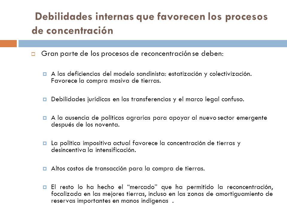 Debilidades internas que favorecen los procesos de concentración Gran parte de los procesos de reconcentración se deben: A las deficiencias del modelo