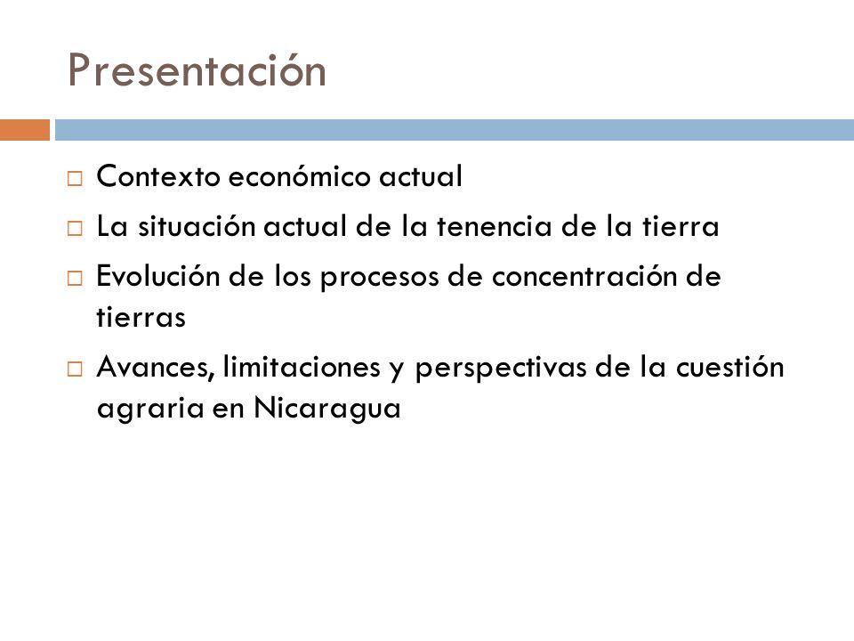 Presentación Contexto económico actual La situación actual de la tenencia de la tierra Evolución de los procesos de concentración de tierras Avances,