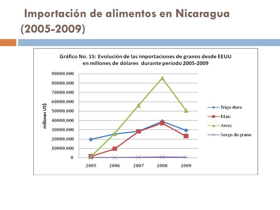 Importación de alimentos en Nicaragua (2005-2009)